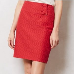 Anthropologie Maeve Audra Cherry Red Pencil Skirt